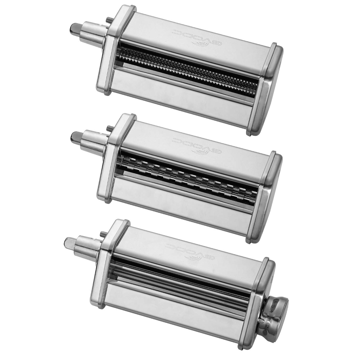 3-Piece Pasta Roller/Cutter Set Attachment fits KitchenAid Stand Mixers,Stainless Steel,Mixer Accessory by Gvode by GVODE