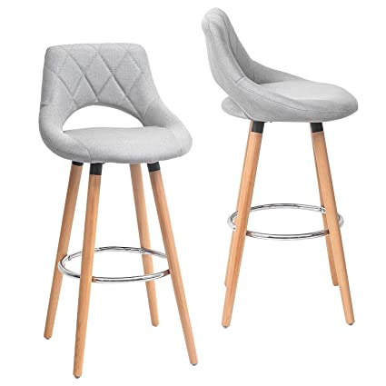 Strange Llivekit Bar Stool Bar Bistro Hooker Counter Stools With Backrest Footrest Chairs Wood Fabric Faux Leather For Kitchen Footrest Set Of 2 Light Grey Gmtry Best Dining Table And Chair Ideas Images Gmtryco