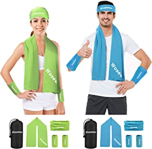 Cooling Towel Headbands Neck Gaiter Face Scarf Wristbands for Man and Women, Breathable Chilly Ice Towel for Workout Keep Cool Scarf for Activities, Gym, Yoga, Travel, Golf