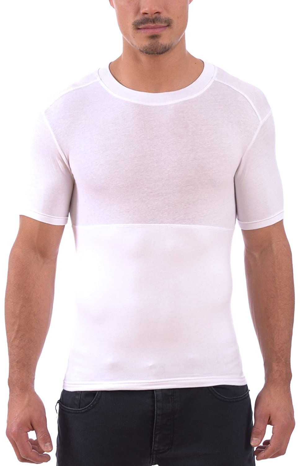 Powerbody Men's Instaslim Shapewear Compression Sculpting Crew Neck T-Shirts MGC_RP22M011-Parent