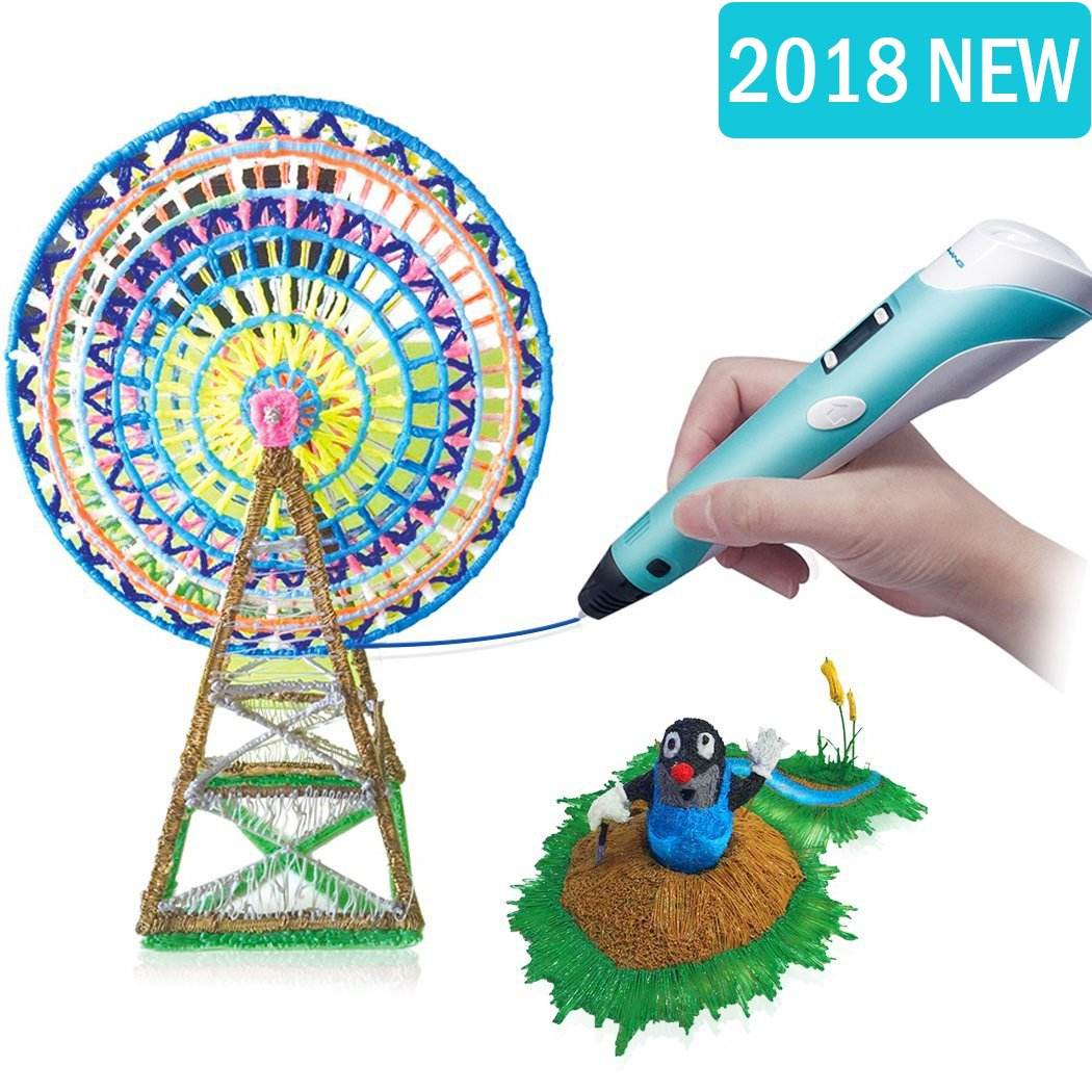 3D Pen RENY 3D Printer Pen Arts Pen Making Doodle Arts & Crafts - Unleash Children's Creativity, Develop Spatial Thinking ( Blue ) With Free Multi-Color 20 Meters PLA Filament For Kids Hobby Gift