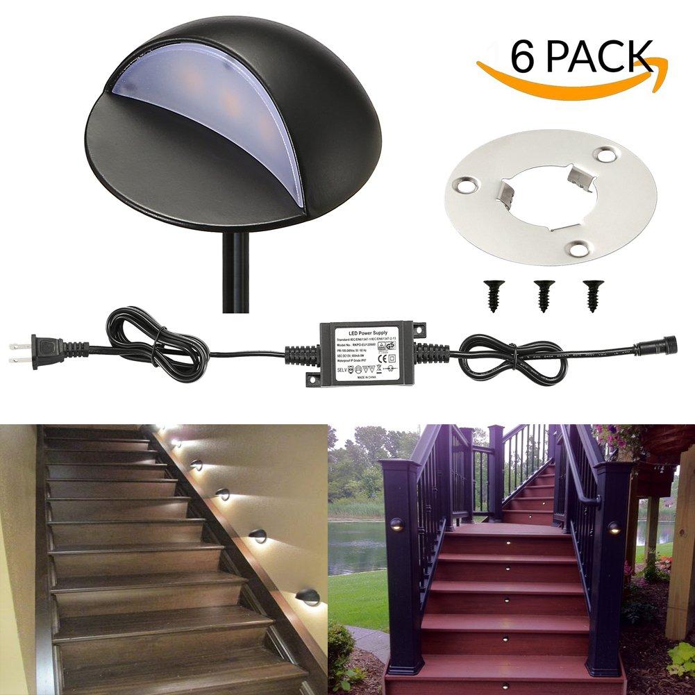 LED Deck Lights Kit, FVTLED Pack of 6 Low Voltage LED Step Stair Lights Φ1.97'' Outdoor Garden Yard Decoration Lamp Recessed Landscape Pathway Step Stair Cool White LED Lighting, Black
