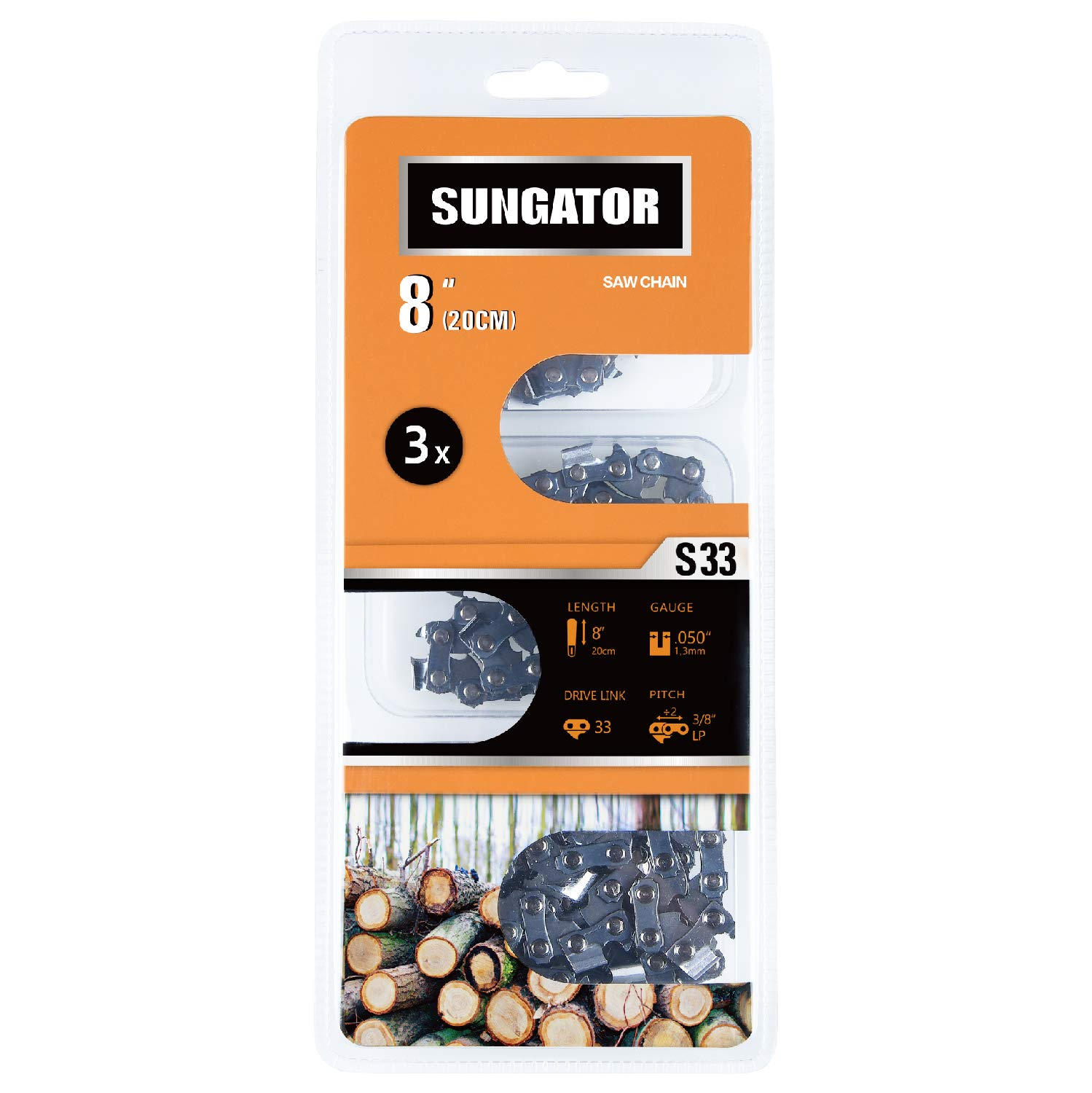 SUNGATOR 3-Pack 8 Inch Chainsaw Chain SG-S33, 3/8'' LP Pitch - .050'' Gauge - 33 Drive Links Fits Chicago, Earthwise, Greenworks, Sun Joe and More by SUNGATOR