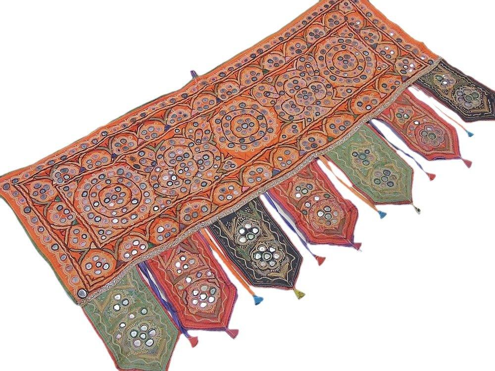 Handmade Doorway Topper India Decorative Embroidered Mirror Work Ethnic Valance ~ 44 Inch X 24 Inch
