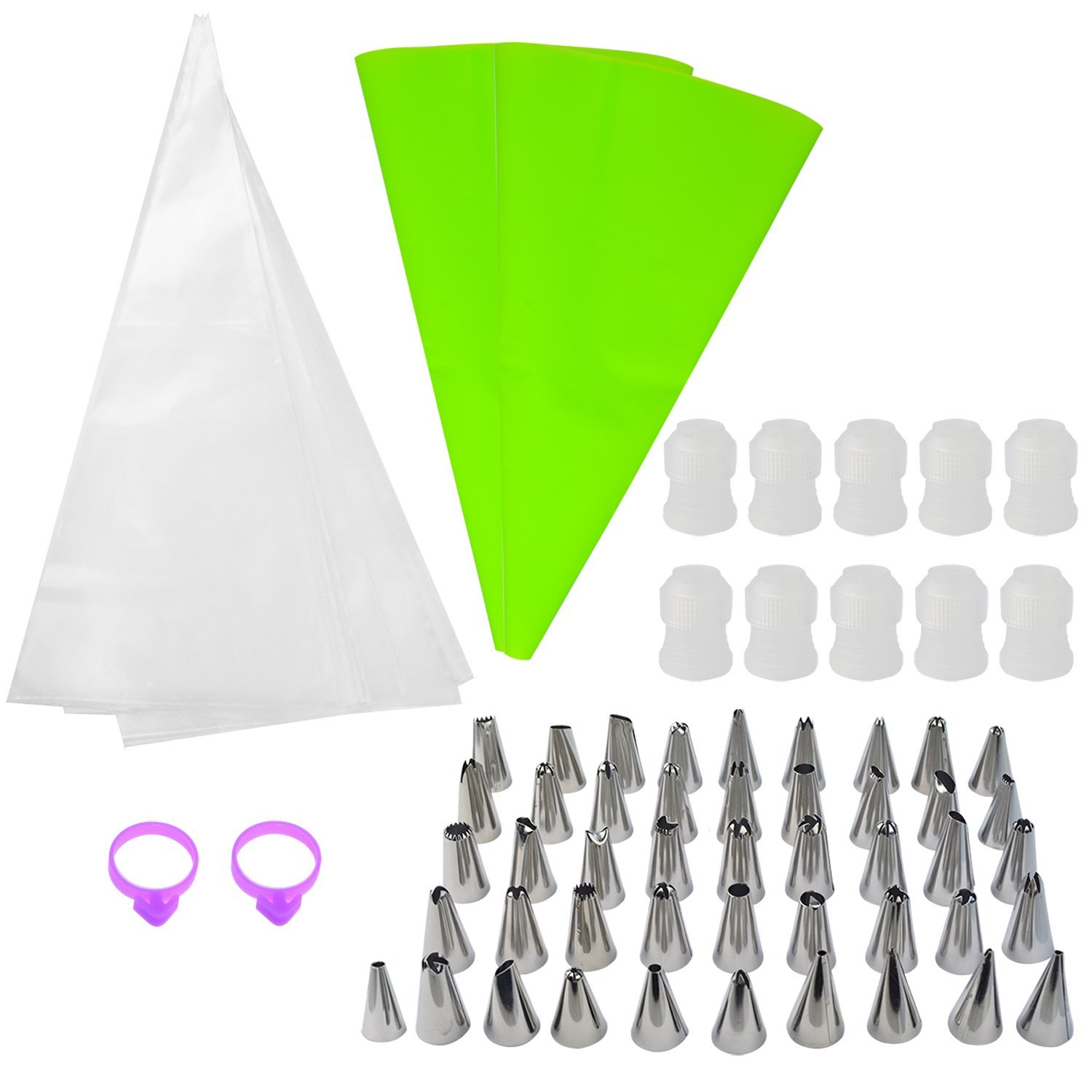 112 Packs Cake Decorating Supplies Kits, Bantoye 48 Pcs Stainless Steel Icing Piping Tips, 50 Pcs Disposable Pastry Bags, 2 Pcs EVA Pastry Bags, 10 Pcs Standard Couplers & 2 Pcs Icing Bag Ties