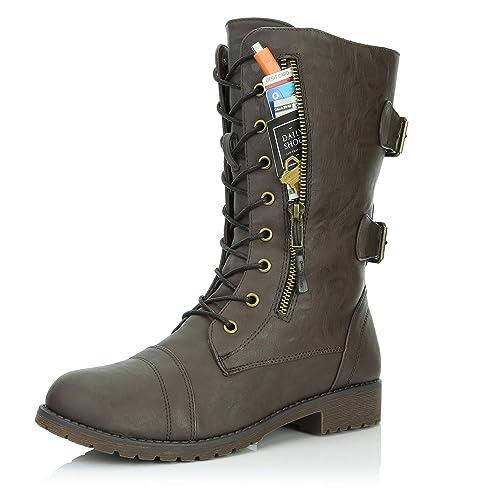 c9312e678cc Amazon.com | DailyShoes Women's Military Lace Up Buckle Combat Boots ...