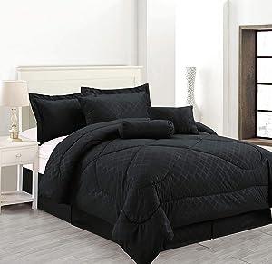 Empire Home Solid Hotel 4PC. Comforter Set (Black, Full)