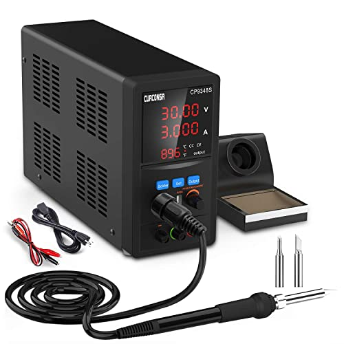 DC Power Supply Variable with Soldering Iron Station,CURCONSA 2 in 1 Adjustable Switching Regulated Bench Power Supply with Digital Soldering Iron Tool,USB Interface,Alligator Leads Included.