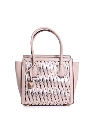 301b8b67e3a7 Amazon.com  Michael Michael Kors Mercer Studio Embossed Metallic Leather  Medium Woven Messenger Handbag in Oat Champagne  Clothing
