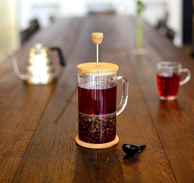 """Buntfink /""""FrenchPress/"""" Tee- und Kaffeebereiter mit Frech Press System Bambus und Borosilikatglas f/ür 1 Liter Tee//Kaffee aus Edelstahl Gr/ö/ße: 1l mit L/öffel und 2 extra Filtern"""