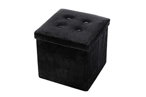 Juvale Velvet Cube Folding Storage Ottoman With Tufted Design, Black, 15 X  15 X