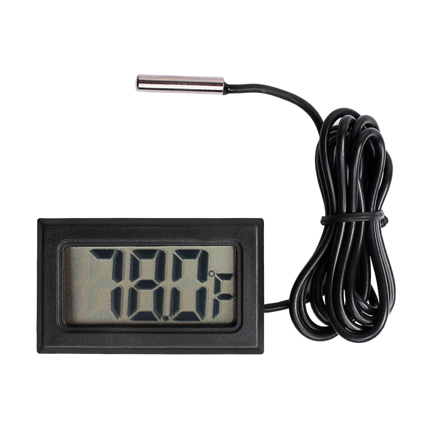 Qooltek Digital LCD Thermometer Temperature Gauge Aquarium Thermometer with Probe for Vehicle Reptile Terrarium Fish Tank Refrigerator(Fahrenheit)