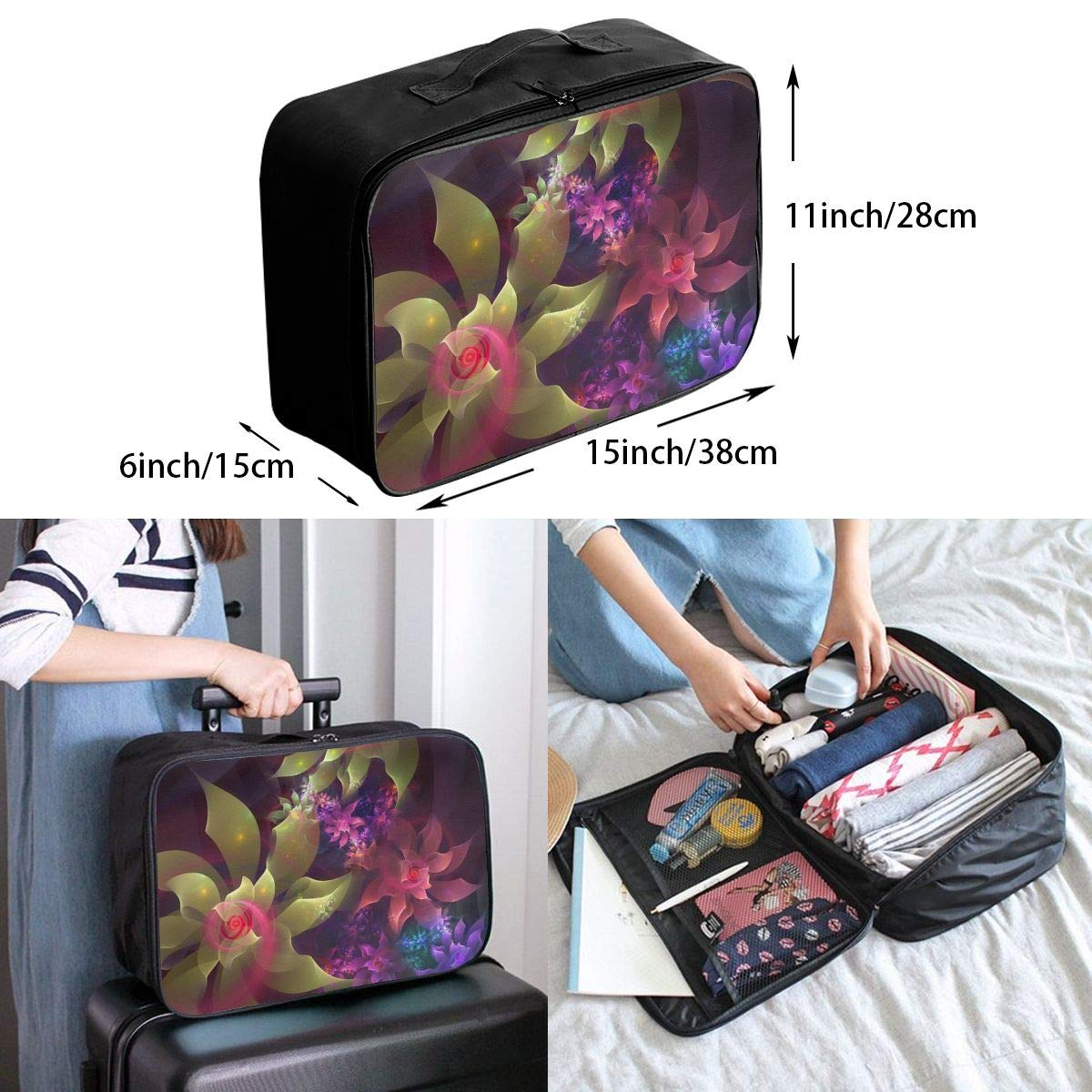 Travel Luggage Duffle Bag Lightweight Portable Handbag Fantasy Flowers Pattern Large Capacity Waterproof Foldable Storage Tote