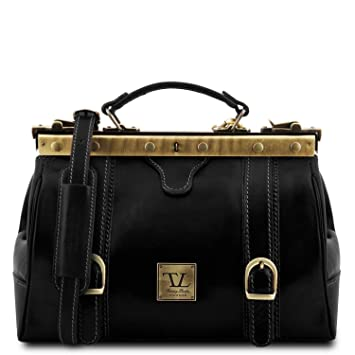 8f13543223 Amazon.com  Tuscany Leather Monalisa Doctor gladstone leather bag with front  straps Black  Tuscany Leather Official Store