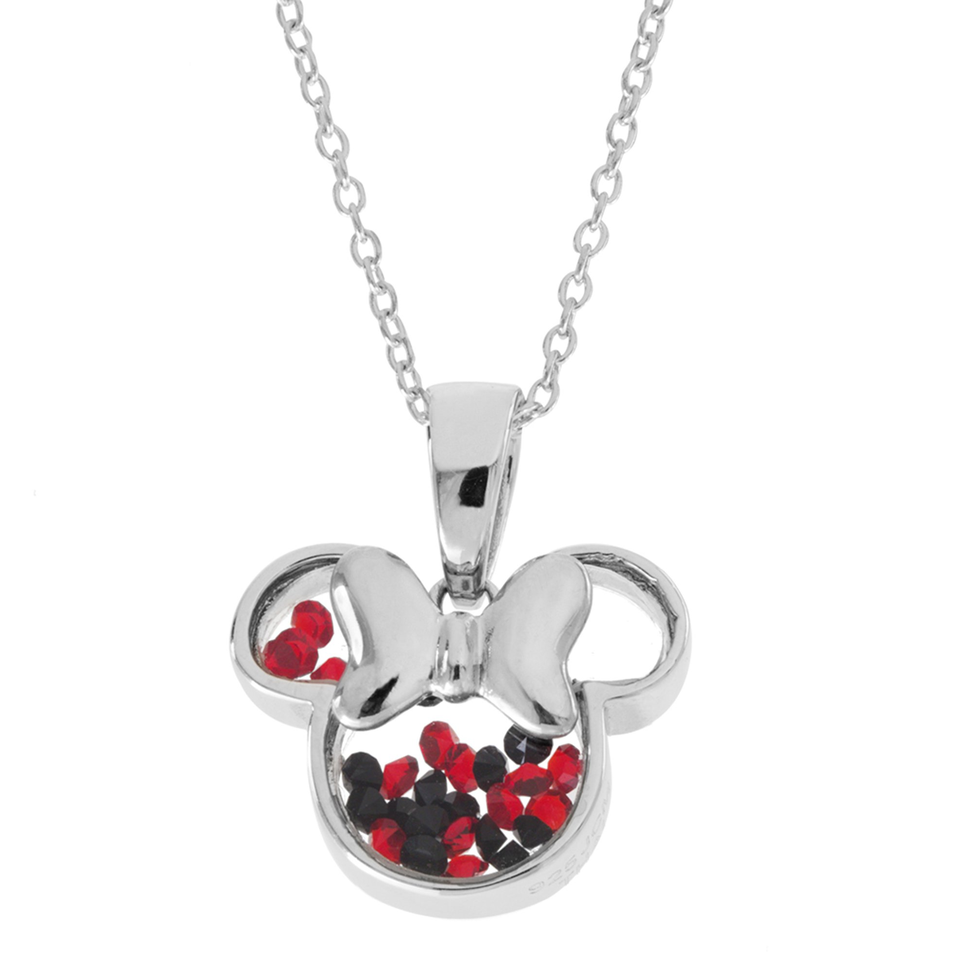 Disney Minnie Mouse Sterling Silver Crystal Head Silhouette Shaker Pendant,18''