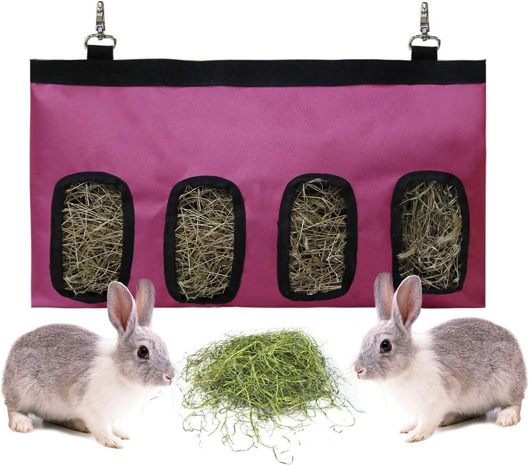 Rabbit Feeder Bunny Guinea Pig Hay Feeder Bag,Hay Guinea Pig Hay Feeder, Rabbit Feeder Fabric Bag Chinchilla Plastic Food Bowl Feeder Storage Bag (Pink)