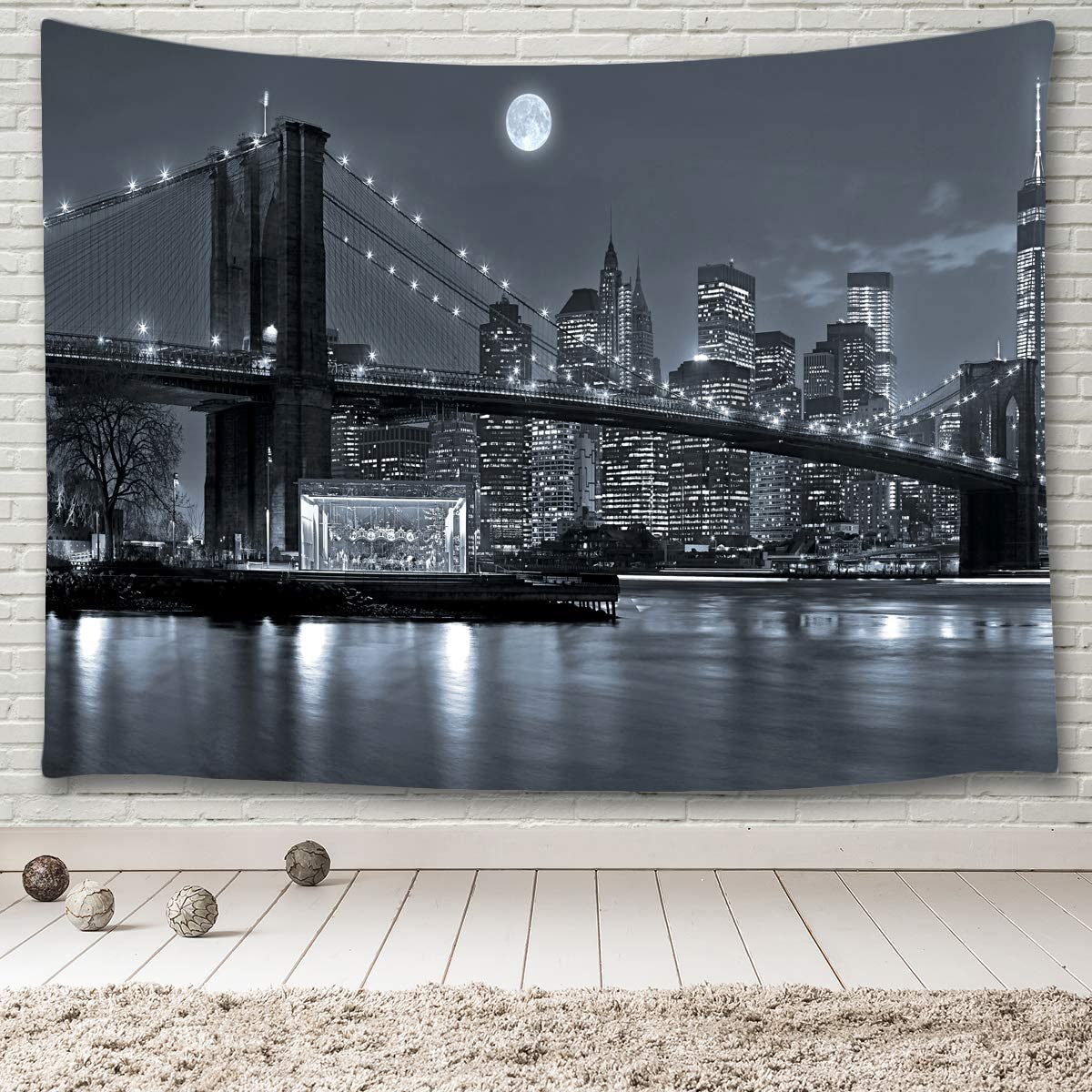 MINAKO New York City Tapestry Black and White,Manhattan Skyline with Brooklyn Bridge Urban Skyscrapers Light Reflections Over East River at Moon Night,Tapestry Wall Hanging 90 x60 Extra Large Size