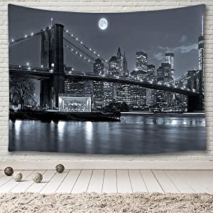 """MINAKO New York City Skyline Tapestry Wall Hanging,Brooklyn Bridge East River Manhattan Skyscrapers Lights Black and White Moon Night,Wall Art Tapestry for Bedroom Living Room College Room 60""""x40"""""""