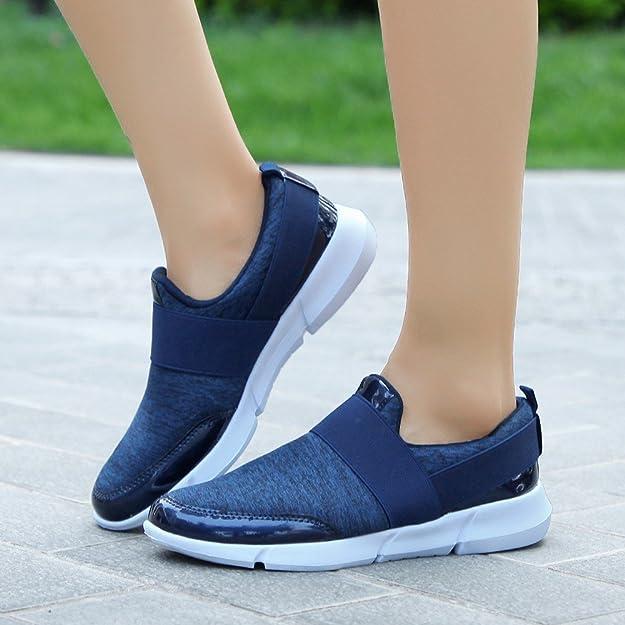 Logobeing Mocasines Casuales de Malla de Las Mujeres Zapatos Planos Transpirables Zapatos para Correr Suaves Zapatos de Gimnasia Sneakers: Amazon.es: ...