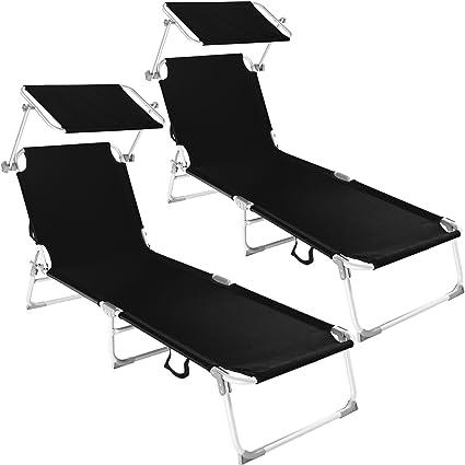 TecTake Lot de 2 chaise longue bain de soleil en aluminium pliable avec parasol pare soleil diverses couleurs au choix (Noir   no. 401549)
