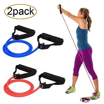 AXYSM Bandas de ejercicios y bandas de resistencia 2, tubos de resistencia con mangos de