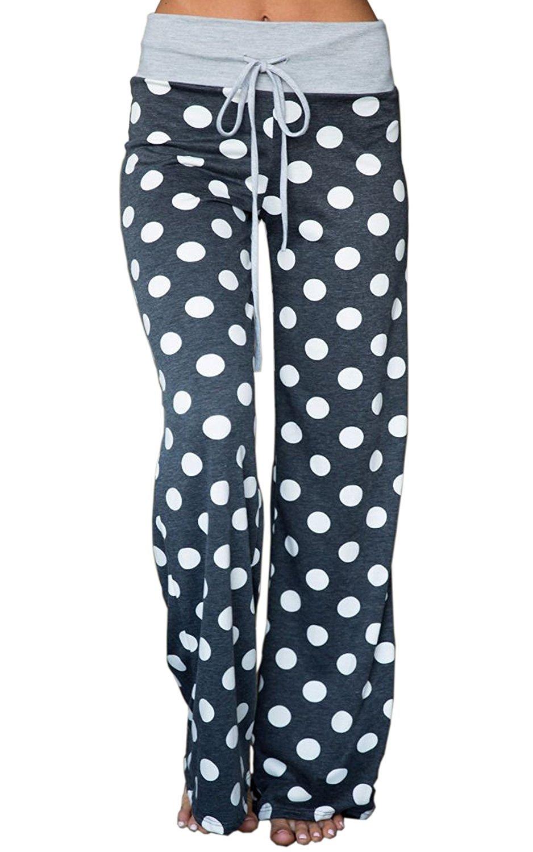 NEWCOSPLAY Women's High Waist Casual Floral Print Drawstring Wide Leg Pants (L, 10041-grey dots)