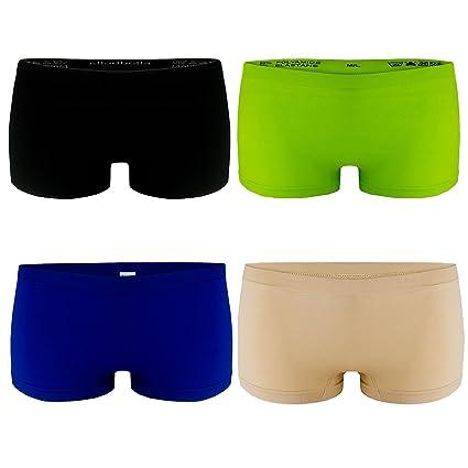 L&K-II 4er Pack Damen Boxershorts Panties in VIELEN Unterwäsche Hot Pants