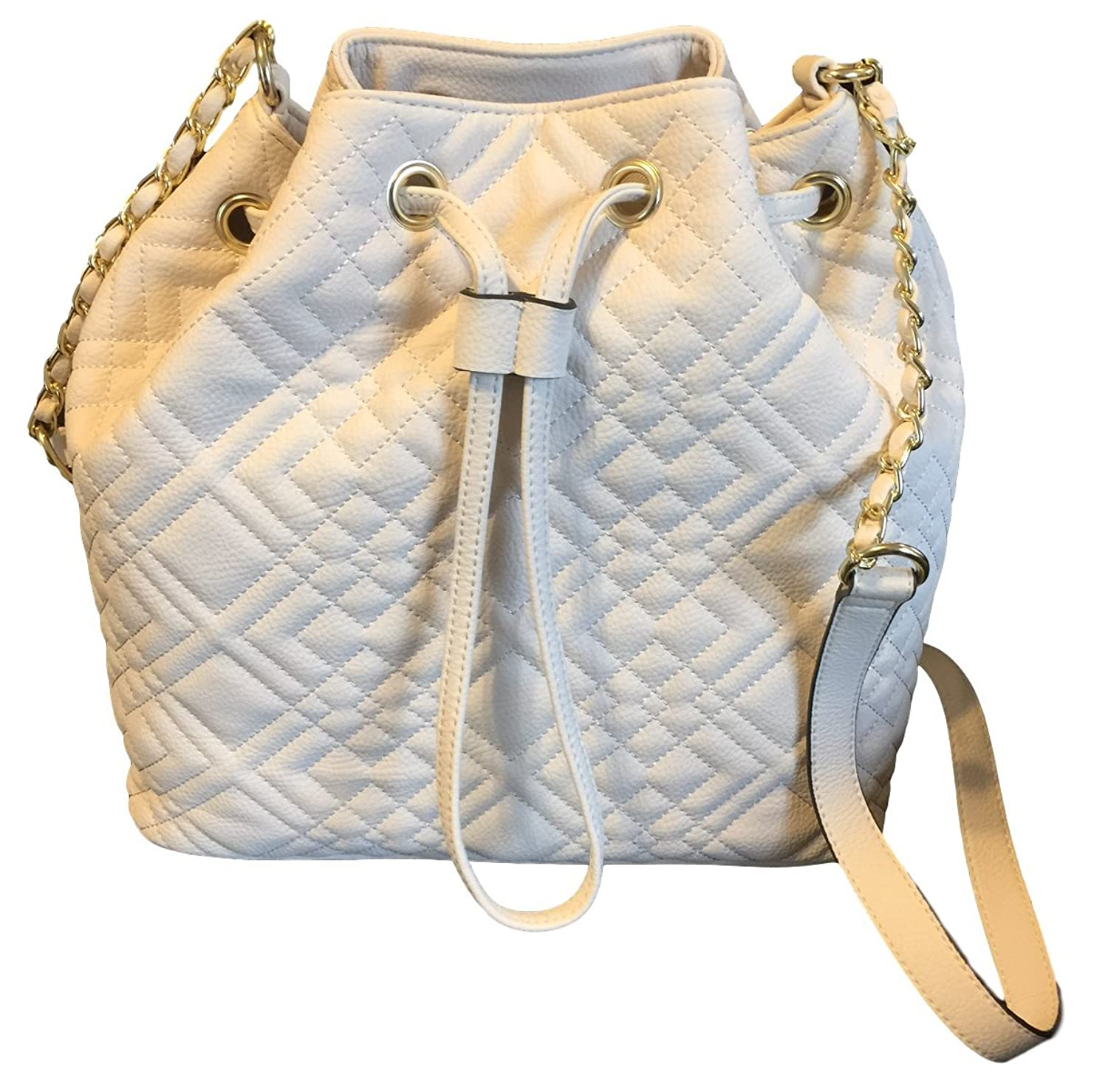 Merona Quilted White Sand Faux Leather Bucket Bag