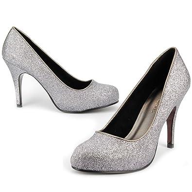 Damen Schuhe Pumps High Heels Stiletto für Party Hochzeit Silber 9CM NA7MA2