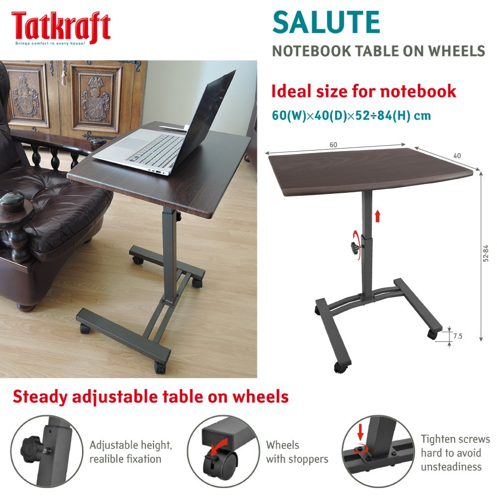 Amazon.com: Tatkraft Salute Portable Laptop Desk Cart with Adjustable Top and Casters: Kitchen & Dining