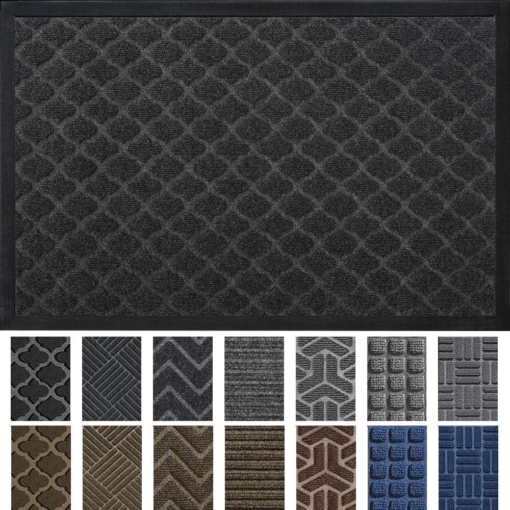 DEXI Large Rubber Doormat Indoor Front Door Mat Entrance Outdoor,Heavy Duty Rubber Outside Floor Rug Waterproof Low-Profile,3'x5',Black