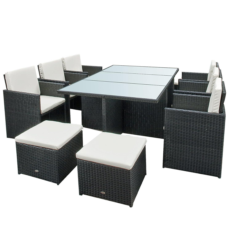 gartenmoebel bali essgruppe garten moebel tisch mit 6 stuehlen und 4 hocker incl glas und. Black Bedroom Furniture Sets. Home Design Ideas