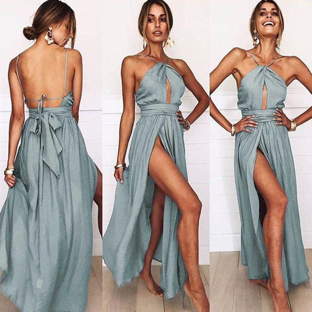 Women's Sundress,Sunward Summer Women Sleeveless Split Ruched Halter Party Cocktail Long Dress (Gray, XL)