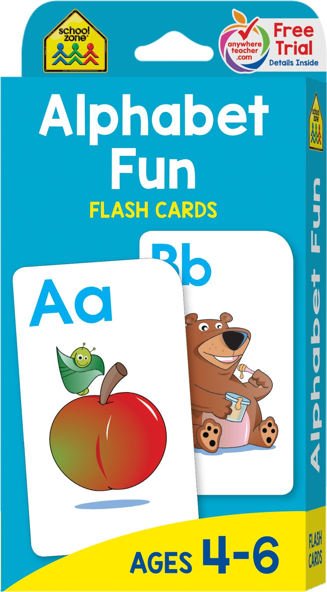 School Zone - Alphabet Fun Flash Cards - Ages 4 to six, Preschool to Kindergarten, ABCs, Uppercase and Lowercase Letters, Spelling, and More