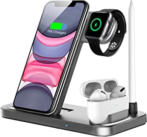 Wireless Charger, QI-EU 4 in 1 Qi-Certified Fast Charging Station Compatible Apple Watch Airpods Pro iPhone 12/11/11pro/X/XS/XR/Xs Max/8/8 Plus, Wireless Charging Stand Compatible Samsung Galaxy S20