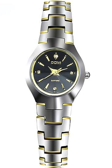 Dom Mujer Dorado Lujo Acero de tungsteno Marcas de Relojes Analogico Quartz: Amazon.es: Relojes