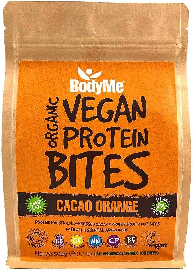 BodyMe Orgánica Proteínas Veganas Mordeduras De Bocados   Crudo Cacao Naranja   500g   100 Mordeduras   Con 3 Proteínas Vegetales