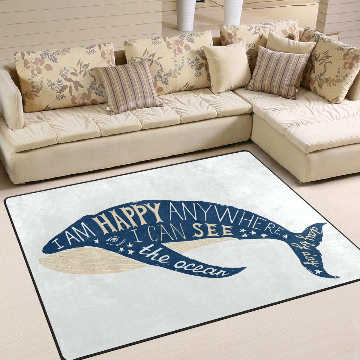 Hand Drawn WhaleRugs Area Rugs Reggie Artwork Collection