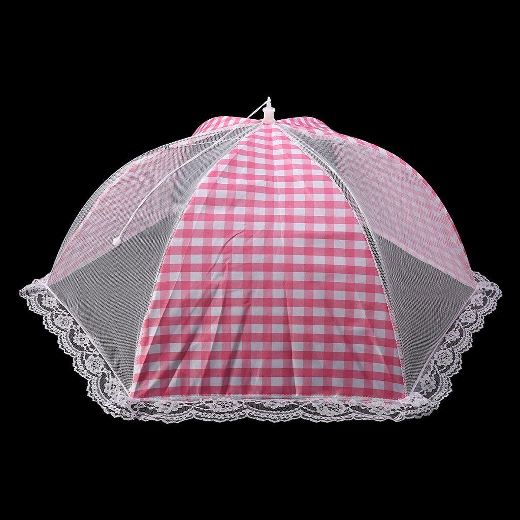YOFO Abdecknetz für Lebensmittel, wiederverwendbar und faltbar, Netz, Schutz für Lebensmittel/Picknick/Grill, hält Fliegen, Insekten, Mücken fern. Größe S rose hält Fliegen