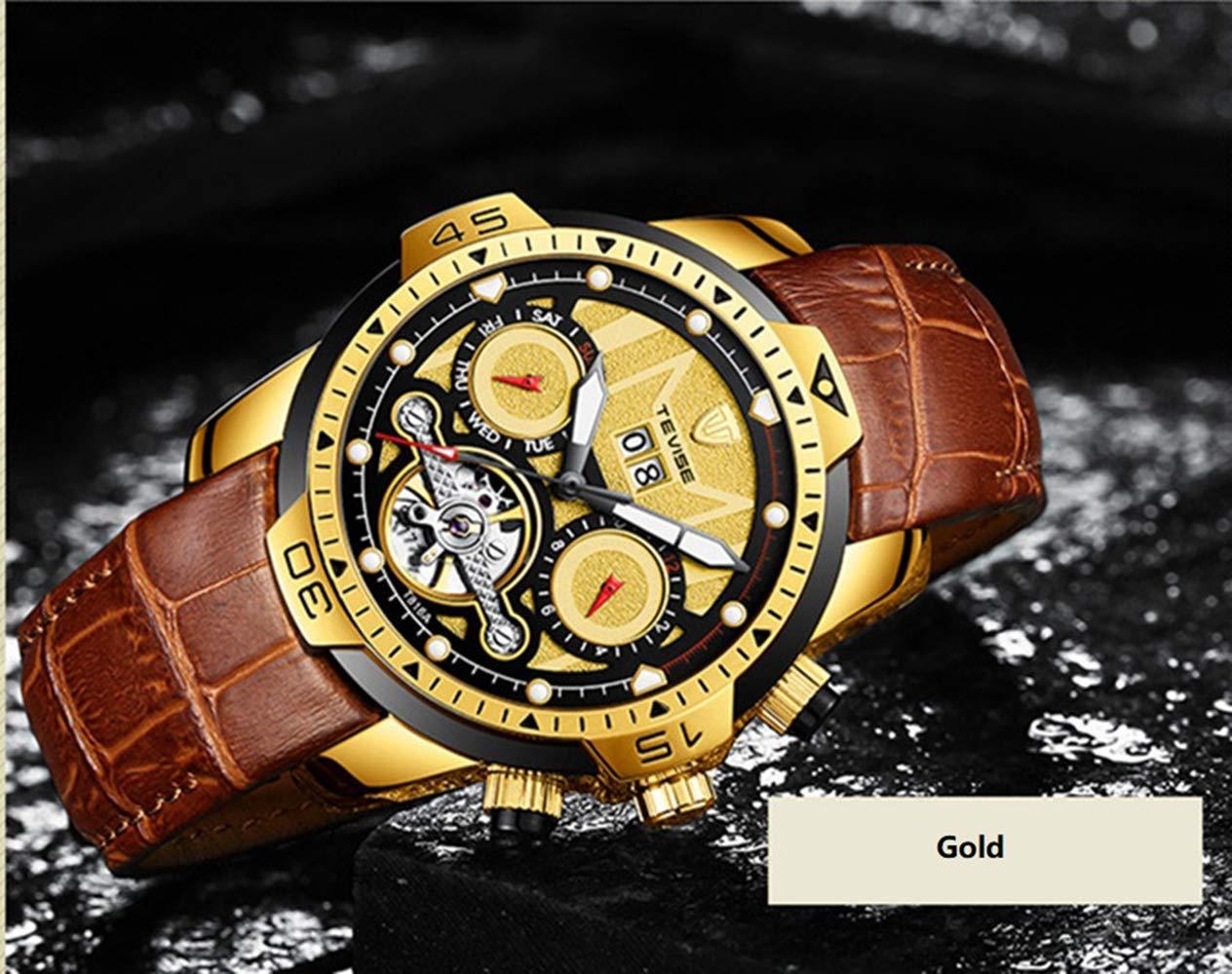 Qxue Herrklocka vecka datum vattentålig lysande visare mekaniska armbandsur Tourbillon business mäns automatiska mekaniska klockor läderklocka Colore