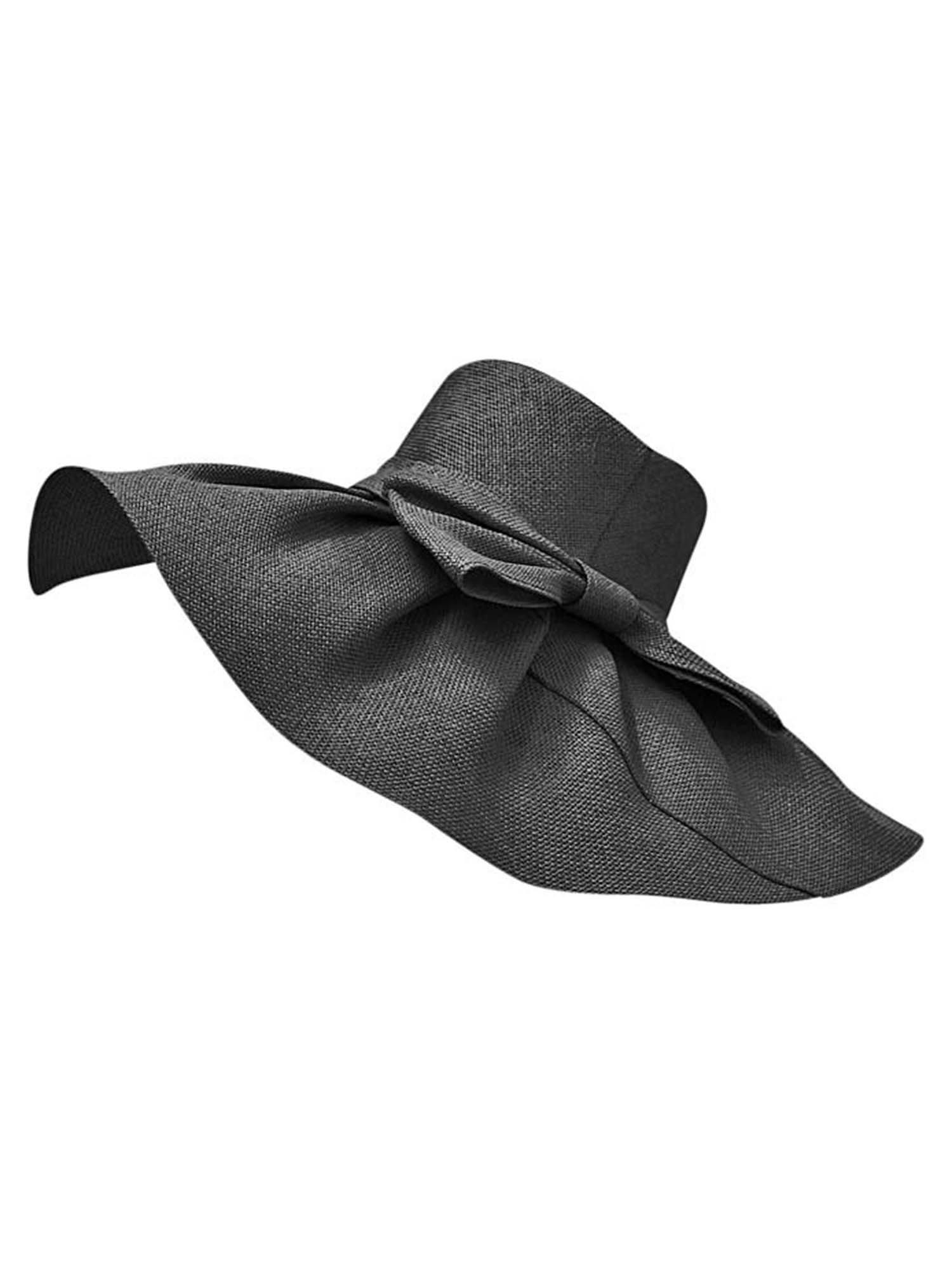 Luxury Divas Black Elegant Toyo Wide Brim Floppy Hat by Luxury Divas