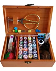 DMM - Cesta de coser de madera con accesorios de costura, caja de