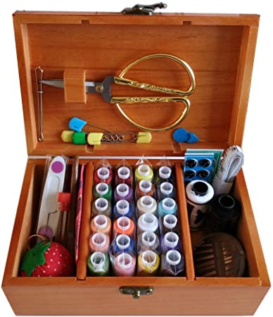 DDXTJ.DMM Cesta de coser de madera con kit de costura accesorios,caja de coser: Amazon.es: Hogar