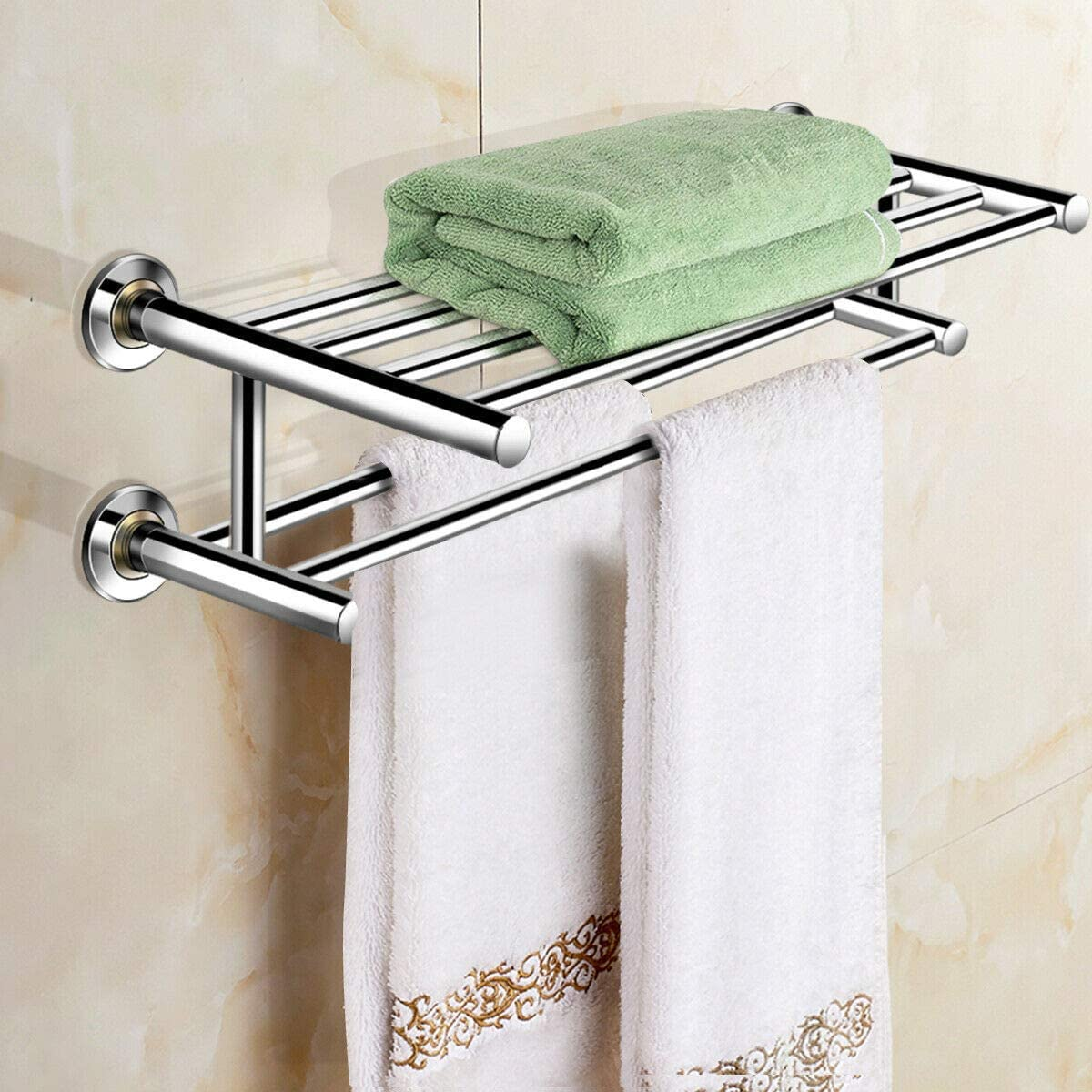 Wall Mounted Bathroom Shelf Stainless Steel Towel Rack Storage Holder Organizer