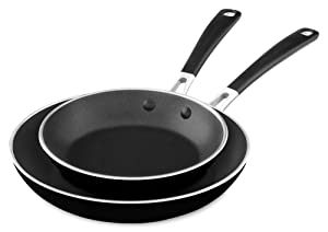 "KitchenAid KC2A08TPOB Aluminum Nonstick 8"" & 10"" Skillets Twin Pack - Onyx Black, Medium"