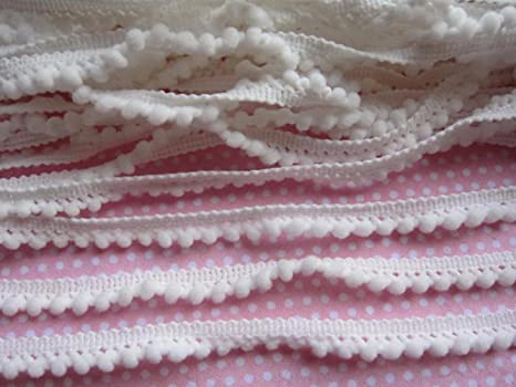 Premium Soft Pom Pom Trim on Heavy Duty Trim 9 MM by 15 Yards White