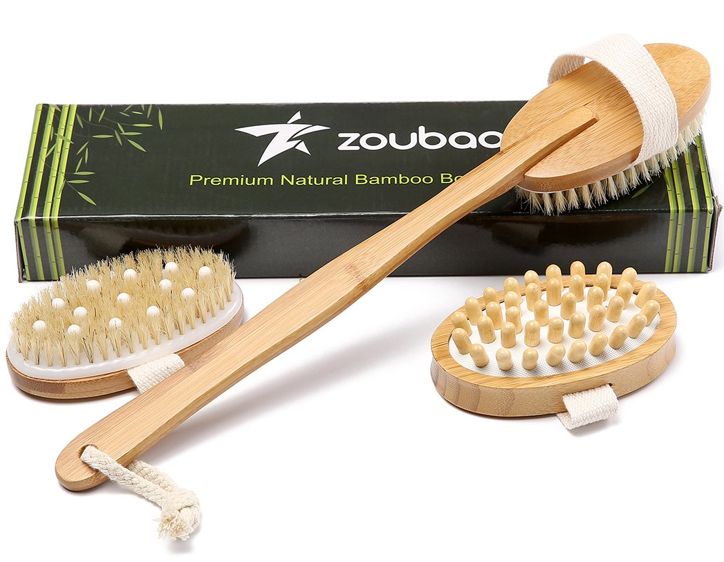 Premium Bamboo Long Handle Body Brush With Natural Boar Bristle Set Best For Wet Or Dry Skin Brushing Exfoliating Skin - Stimulating Lymphatic System Flow Increase Blood Circulation -Reduce Cellulite