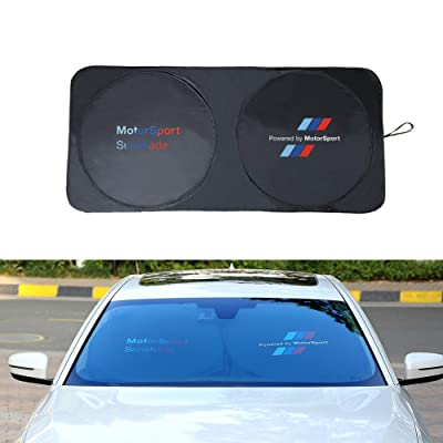 OYADM car Windshield Sun Shade with Teflon Coating,Better Shading Effect Than Silver Coated Cloth, Blocks UV Rays Foldable Sun Visor Protector, for BMW 、Mercedes-Benz、Cadillac、Public、Audi(Black): Automotive