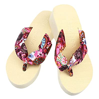 Amazon.com | Women Flops Slippers Summer Stripe High Beach Sandals Flip | Flip-Flops