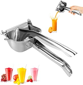 LINGSFIRE Manual Juicer, Stainless Steel Fruit Juicer Hand Press Squeezer Detachable Hand Juicer for Fruits, Lemon Juice, Orange Juice, Grape Juice, Etc